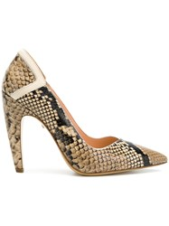 Just Cavalli Snakeskin Effect Pumps Nude And Neutrals