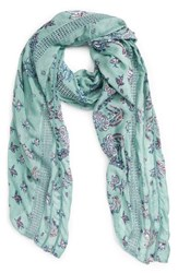 Hinge Women's Kaleidoscope Bloom Lace Inset Scarf Teal Combo