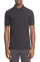 Y 3 Men's Logo Cotton Pique Polo Black