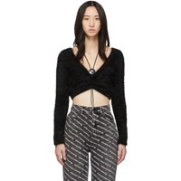 Alexander Wang Black Cropped Bolo V Neck Sweater