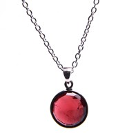 Puck Wanderlust Silver January Birthday Charm Necklace Garnet Red Silver