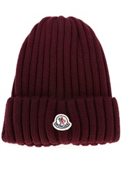 Moncler Ribbed Knit Beanie Red