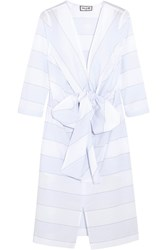 Paul And Joe Bow Detailed Striped Cotton Midi Dress Light Blue