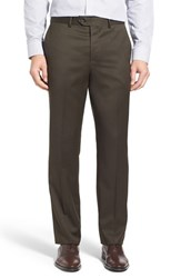 Men's John W. Nordstrom Flat Front Solid Wool Trousers Brown Olive