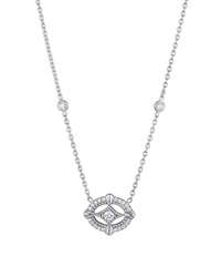 Penny Preville Horizontal Oval Diamond Pendant Necklace 0.28 Tcw