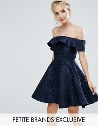 Chi Chi Petite London Textured Off Shoulder Mini Prom Skater Dress Navy
