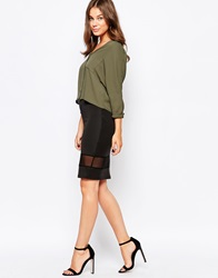 Selected Midi Skirt With Mesh Insert Black