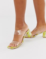Miss Selfridge Woven Strap Mule In Lime Weave Green
