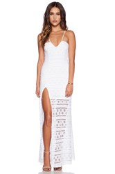 Nightcap Cherokee Stripe High Slit Maxi Dress White