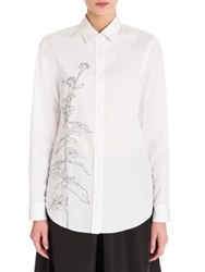 Jil Sander Embroidered Cotton Shirt White
