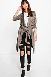 Boohoo Scuba Waterfall Belted Jacket Khaki