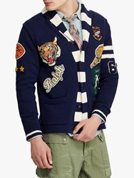 Ralph Lauren Polo Cotton Letterman Cardigan Navy Cream