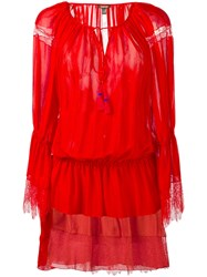 Roberto Cavalli Lace Trimmed Drop Waist Dress Red