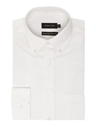 Double Two Long Sleeve Oxford Button Down Shirt White