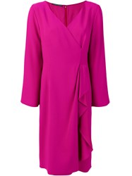 Alberta Ferretti V Neck Wrap Dress Pink And Purple