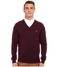 Fred Perry Classic V Neck Sweater Mahogany Men's Sweater