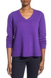 Eileen Fisher Boxy Wool V Neck Pullover Purple