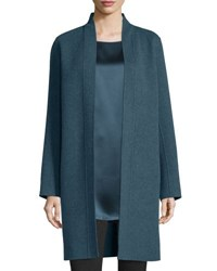 Eileen Fisher Brushed Wool Double Face Coat Fir Blue Green