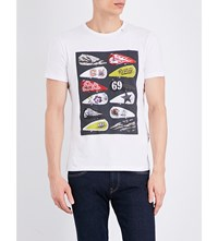 Replay Motorcycle Graphic Cotton Jersey T Shirt Optical White