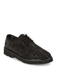 Donald J Pliner Connie Embellished Suede Lace Up Dobby Shoes Black