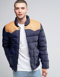 Penfield Pelam Down Quilted Jacket Leather Yoke Navy