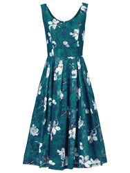 Jolie Moi Floral Print Lace Prom Dress Dark Teal