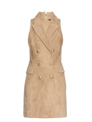 Balmain Double Breasted Suede Dress Beige