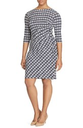 Lauren Ralph Lauren Plus Size Women's Geo Print Sheath Dress Cream Grey Lighthouse Navy