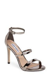 Steve Madden Women's Sheena Strappy Sandal Pewter Faux Leather