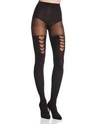 Pretty Polly Heart Faux Stay Up Tights Black