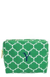 Cathy's Concepts Monogram Cosmetics Case Green Y