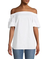 Laundry By Shelli Segal Off The Shoulder Flutter Sleeve Tunic White