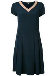 Paul Smith Ps By V Neck Flared Dress Women Silk Viscose 42 Blue