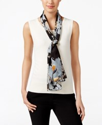 Echo Winter Rose Silk Oblong Scarf Black