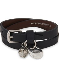 Alexander Mcqueen Crystal Skull Leather Double Wrap Bracelet Black Silver