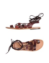 Local Apparel Toe Strap Sandals Maroon