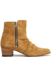Amiri Woman Ruched Suede Ankle Boots Camel