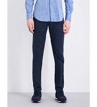 Slowear Slim Fit Tapered Stretch Cotton Trousers Navy