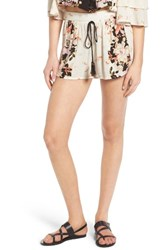 Band Of Gypsies Women's Floral Print Shorts Cream Black