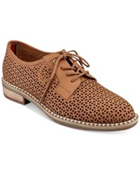 Tommy Hilfiger Raenay Perforated Lace Up Oxfords Women's Shoes Tan