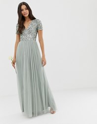 Maya Bridesmaid V Neck Maxi Tulle Dress With Tonal Delicate Sequins In Green Lily