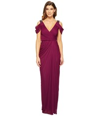 Adrianna Papell Cold Shoulder Rouched Stretch Tulle Dress With Beaded Details Pomegranate Women's Dress Pink