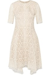 Lela Rose Guipure Lace And Organza Dress White