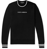 Dolce And Gabbana Slim Fit Contrast Tipped Logo Embroidered Virgin Wool Sweater Black