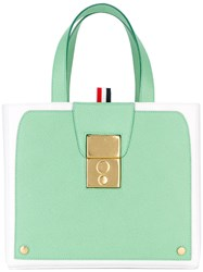 Thom Browne Bicolour Tote Women Leather One Size Green