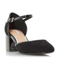 Linea Crawford Two Part Block Heel Court Shoes Black