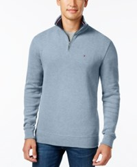 Tommy Hilfiger Men's Big And Tall French Rib Quarter Zip Cashmere Blue Heather