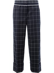 Thom Browne Checked Tailored Pants Women Silk Wool 40 Blue
