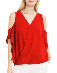 Vince Camuto Wrap Front Cold Shoulder Blouse Dynamic Red