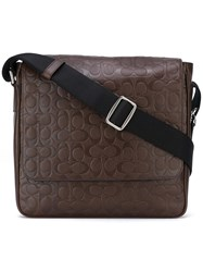 Coach Logo Embossed Crossbody Bag Brown